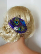 Bridal Hair Clip, Peacock Feathers, Wedding Comb, Hair Clip, Purple Blue Comb