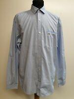 A794 MENS LACOSTE BLUE WHITE CHECK COTTON REGULAR FIT L/SLEEVE SHIRT UK L EU 52