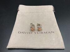 DAVID YURMAN Chatelaine Sterling Silver W/ 8mm Morganite Stud Earrings NWOT $395