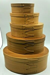 Set 5 Graduated Oval Nesting Stacking Finger Lapping Wooden Shaker Pantry Boxes