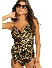 Pour Moi Paradiso Control Swimsuit Size 10 S *BNWT* Black/Gold