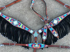WESTERN HORSE BLING! RAINBOW TIE DYE BRIDLE BREAST COLLAR ONE EAR TACK SET