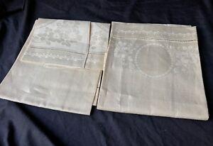 "VTG Linen beige Napkins Ireland 18"" x 29"" pure flax clover flowers Set of 2 EC"