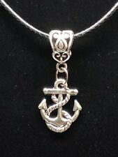 """Tibetan Silver """"ANCHOR"""" Pendant With Black PU Leather String"""