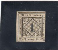 Württemberg: MiNr. 1a, TII, *, mit BPP Attest