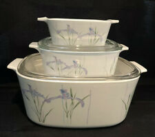 Corning Ware Shadow Iris Casserole Dish & Pyrex Lid 5pc A-5-B A-1 1/2-B P-43-B