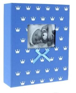 "Blue Slip In Photo Album 200 6"" x 4"" Photos Baby Boy Keepsake Birthday Gift"