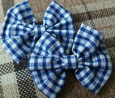 "2 x 2.5"" blue school uniform girls gingham custom made hair clips"