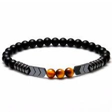 Natural Matte Onyx Bead Hematite Arrow Tiger Eye Stone Energy Bracelet Men Women