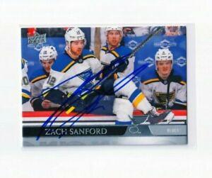 """ZACH SANFORD autographed SIGNED '20/21 ST. LOUIS BLUES """"Upper Deck"""" card"""