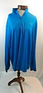 Puma Dry Cell Mens XXL Bright Blue 1/4 Zip Long Sleeve Golf Pullover