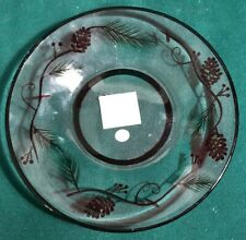 Yankee Candle Large Candle Jar Tray Pine Cone pattern Clear glass