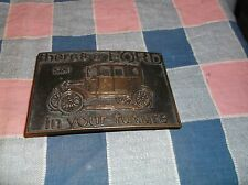 u2. Belt Buckle There's a FORD in your future Made Hong Kong  2 1/2 x 3 1/2 In