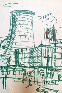 Vintage expressionist ink painting cityscape factory signed