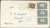 Canada 1948 ONTARIO RAIL BACKSTAMPS Cover with STRIP of 3 4c #277 stamps + #250