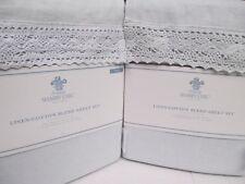 New Simply Shabby Chic Linen Cotton Blue Crochet Lace Sheet Set - Twin