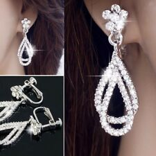 #E132A Bridal CLIP ON screw back EARRINGS Flower Dangle Teardrop Crystal 3.8cm