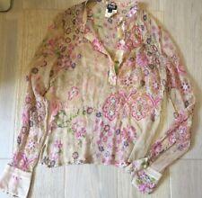 Vintage D&G (Dolce & Gabbana) de seda Chifón Floral Estampado Top. Talla 28/42