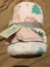 Cloud Island Plush Velboa Baby Blanket Forest Frolic Pink