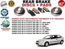 PER HONDA CIVIC Mk IV Hatchback 95-01 SET DISCHI FRENI POSTERIORI + PASTIGLIE