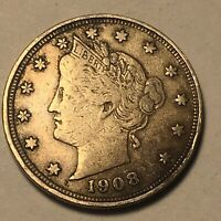 1908 Liberty V Nickel 5c Higher Grade Full Liberty Obsolete Type Coin