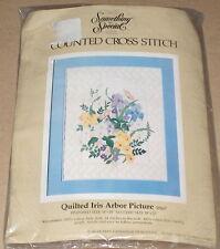 "1985 Candamar ""Quilted Iris Arbor"" Flower Garden Cross Stitch Kit Nip 14x18"""