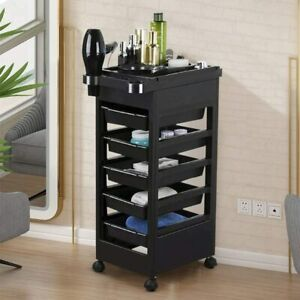 Salon Hairdresser Barber Beauty Spa Hair Trolley Cart Storage Plastic 4 Wheels