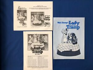 Disney's Lady and the Tramp Theater Pressbook and Uncut 16-page Ad Pad Slicks