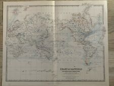 1881 WORLD CHART LARGE HAND COLOURED ORIGINAL ANTIQUE MAP BY JOHNSTON