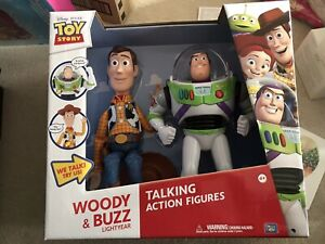 TOY STORY WOODY AND BUZZ LIGHTYEAR ACTION TALKING FIGURES NEW