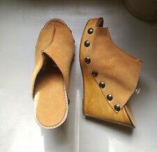 Womens Handmade Mustard / Tan Suede Summer Mules Sandals Wedges Size 5