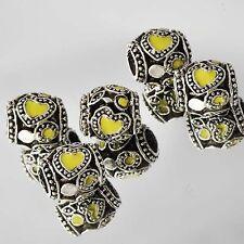 Cute 5* Tibetan Silver Love Heart Yellow Enamel CZ Beads Fit European Bracelets