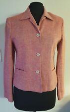 Jones New York Country 8 Reddish Pink Linen Peplum Jacket Blazer Spring Summer