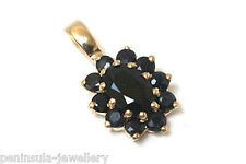 9ct Gold Sapphire Necklace Cluster Pendant no chain Gift Boxed Made in UK Xmas