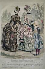 GRAVURE COULEURS MODE FEMININE ROBES OMBRELLE ENFANT CERCEAU PARC SEPTEMBRE 1884