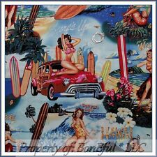 BonEful Fabric FQ Cotton Quilt VTG Pin Up L Girl Hawaii Beach Surf Boy Woody Car