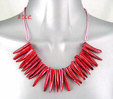 Hot Pink Ethnic Abalone Paua Shell Dragon Tooth Claws Tribal Statement Necklace