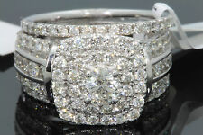 10K WHITE GOLD 2.57 TCW CENTER .50 CT DIAMOND ENGAGEMENT RING WEDDING BANDS SET