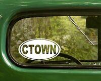 2 CTOWN CHARLESTOWN DECALs Oval Sticker for Mug Car Truck Bumper Window Laptop