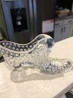 VTG Fenton Art Glass Opalescent Moonstone Cat Head Hobnail Shoe Slipper W/ Label