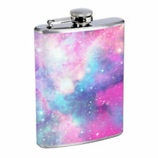 Pink Galaxy Em1 Flask 8oz Stainless Steel Hip Drinking Whiskey