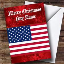 Drapeau américain USA Personnalisé Noël Carte de vœux