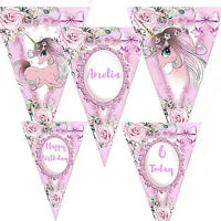 Personalised Girls Bunting Unicorn Birthday 1st 2nd 3rd 4th Any Age Name Girls