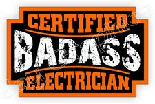 Badass ELECTRICIAN Hard Hat Sticker | Motorcycle Helmet Decal Electrical Safety