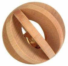 Trixie Slat Ball with Bell For Rabbits and Guinea Pigs Wooden Ball 6cm