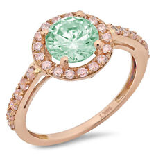 2.40 ct Round Cut Halo Turquoise Green Engagement Wedding Ring 14k Rose Gold