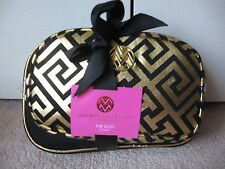 MACBETH COLLECTION MAKEUP BAG DUO SET * DANIELLE Creations * BLACK & GOLD * NWT