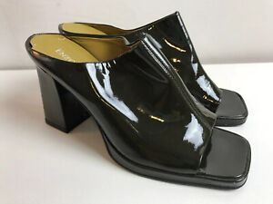 Enzo Angiolini Olive Green Patent Leather Heels Mules Square Toe Womens 10M