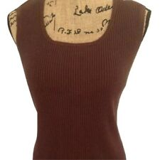 JOSEPH A. Chocolate Brown Ribbed Knit Top Sleeveless S/M EXCELLENT