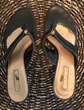 UNISA Black Zipper Sandals Flip Flops - size 9 Thong Sandal Slip On